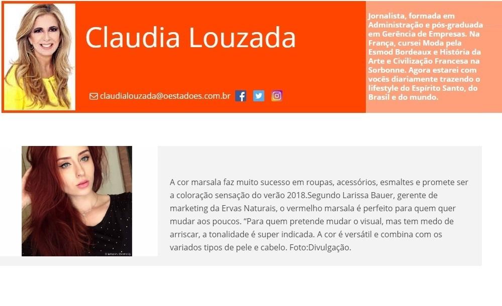 Ervas Naturais  - Site O estado do ES - 10-10-17 - Col. Claudia Louzada